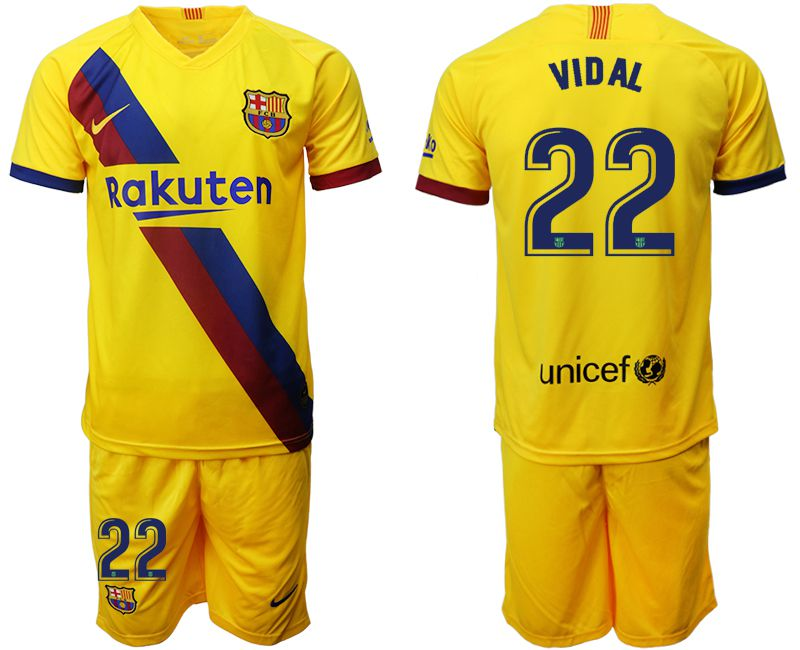 Men 2019-2020 club Barcelona away 22 yellow Soccer Jerseys