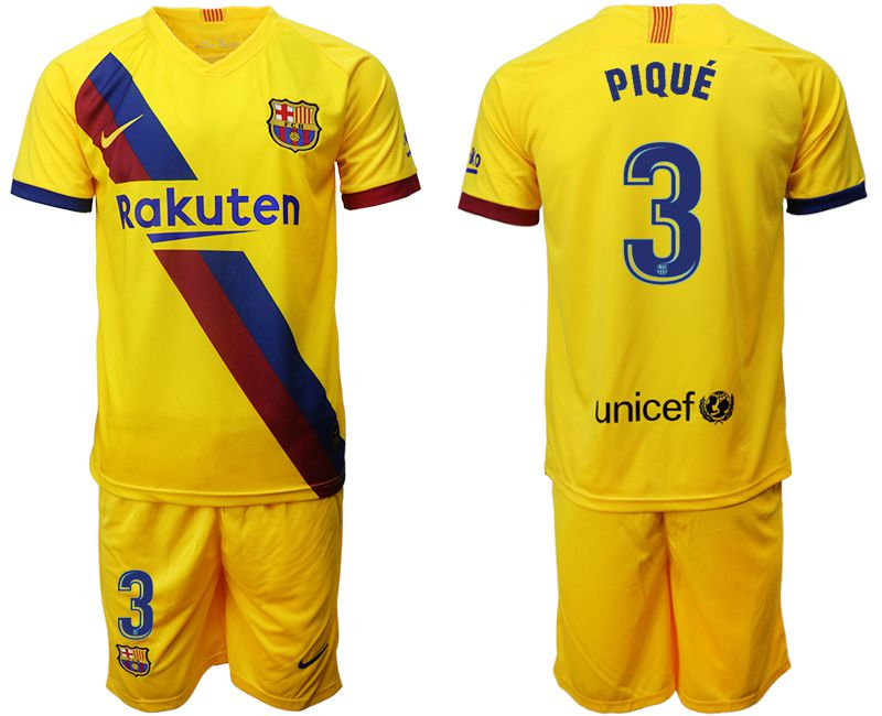 Men 2019-2020 club Barcelona away 3 yellow Soccer Jerseys