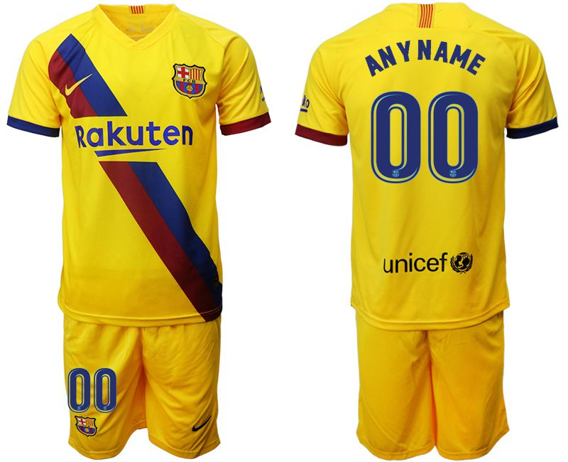 Men 2019-2020 club Barcelona away customized yellow Soccer Jerseys