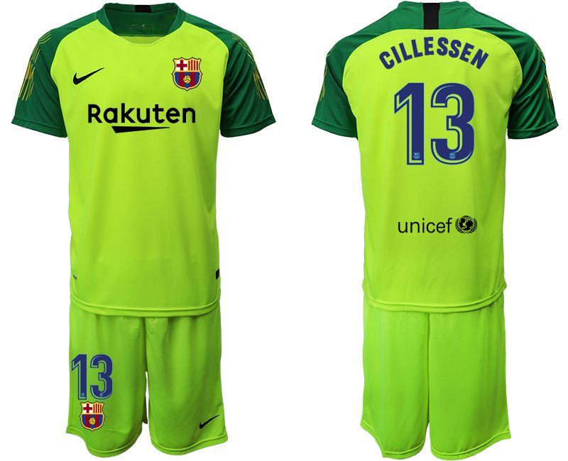 Men 2019-2020 club Barcelona fluorescent green goalkeeper 13 Soccer Jerseys
