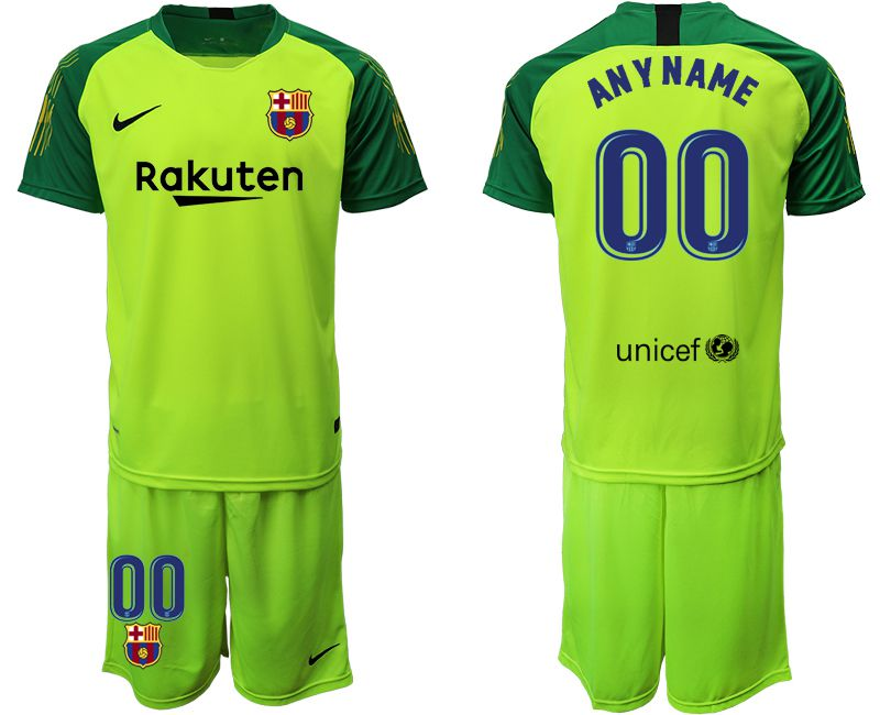 Men 2019-2020 club Barcelona fluorescent green goalkeeper customized Soccer Jerseys