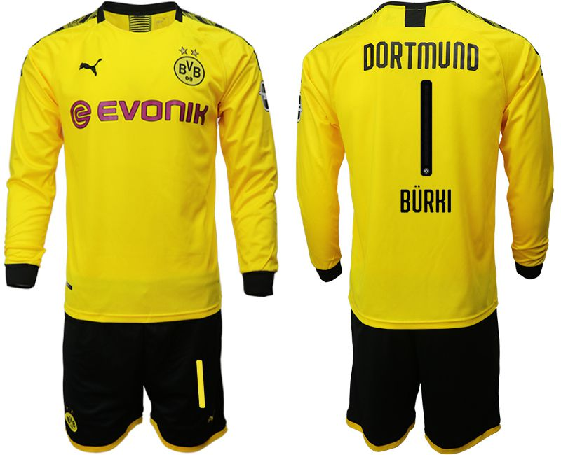 Men 2019-2020 club Borussia Dortmund home long sleeves 1 yellow Soccer Jerseys