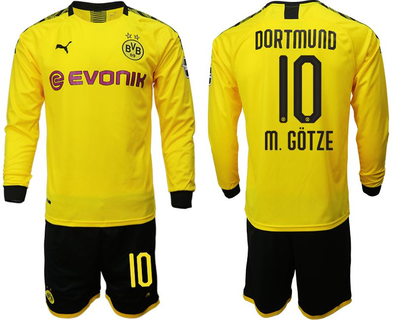 Men 2019-2020 club Borussia Dortmund home long sleeves 10 yellow Soccer Jerseys