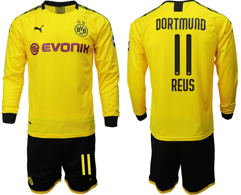 Men 2019-2020 club Borussia Dortmund home long sleeves 11 yellow Soccer Jerseys