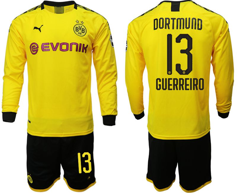 Men 2019-2020 club Borussia Dortmund home long sleeves 13 yellow Soccer Jerseys