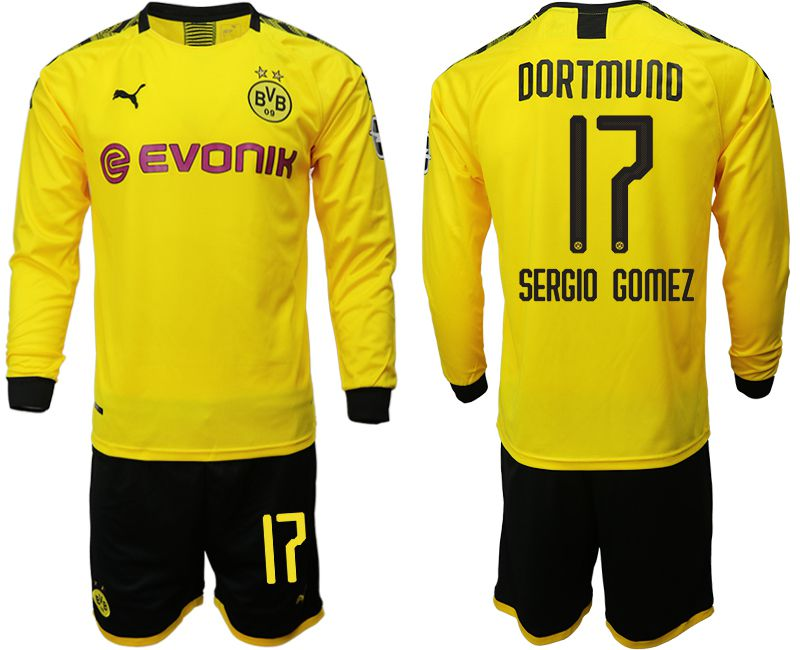 Men 2019-2020 club Borussia Dortmund home long sleeves 17 yellow Soccer Jerseys