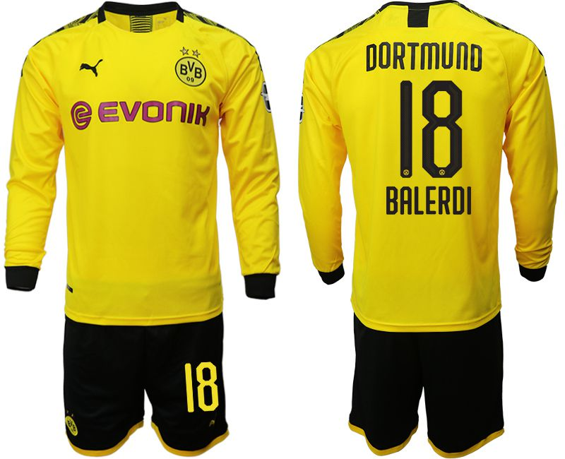 Men 2019-2020 club Borussia Dortmund home long sleeves 18 yellow Soccer Jerseys
