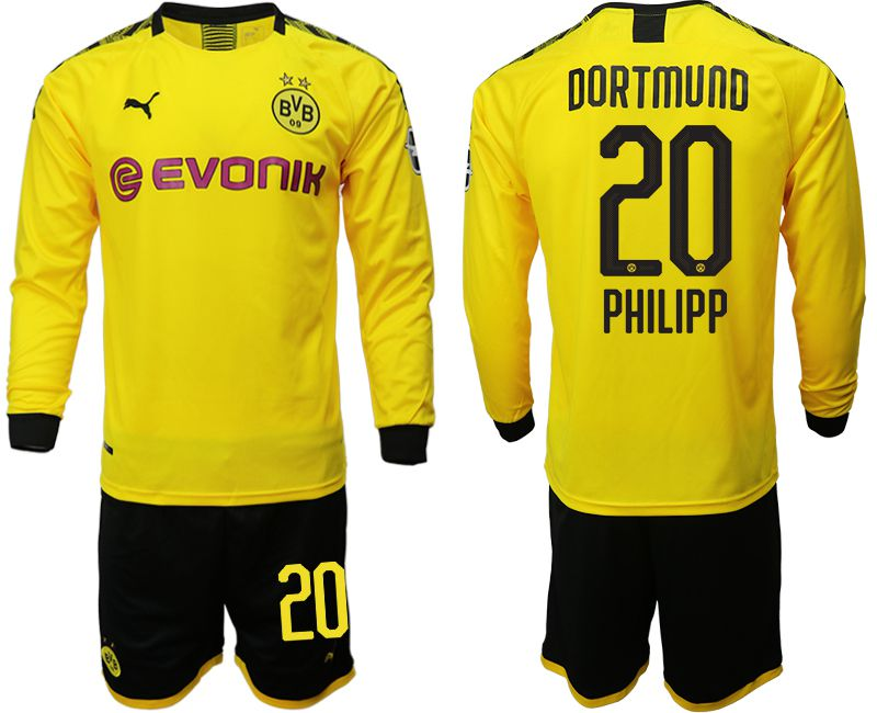 Men 2019-2020 club Borussia Dortmund home long sleeves 20 yellow Soccer Jerseys