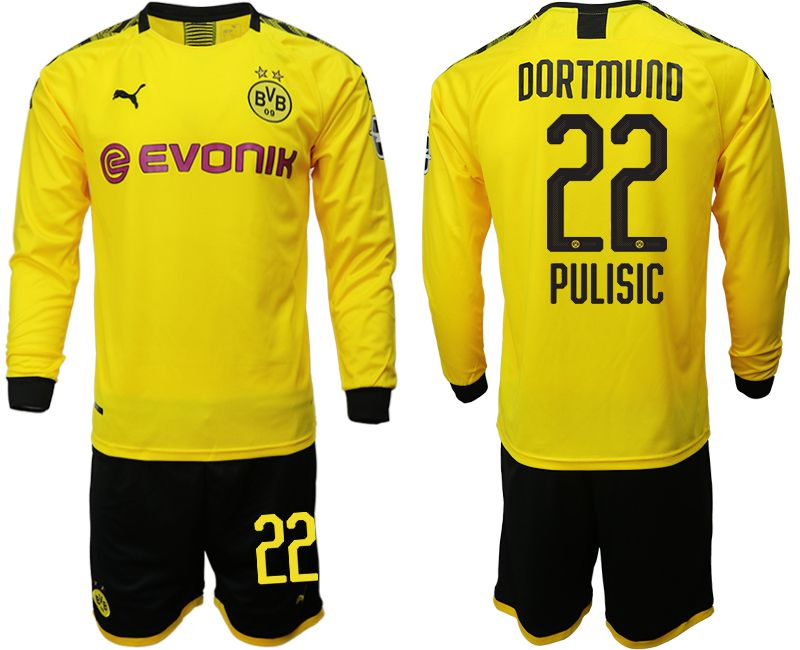 Men 2019-2020 club Borussia Dortmund home long sleeves 22 yellow Soccer Jerseys