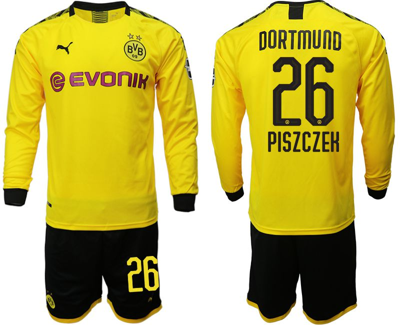 Men 2019-2020 club Borussia Dortmund home long sleeves 26 yellow Soccer Jerseys