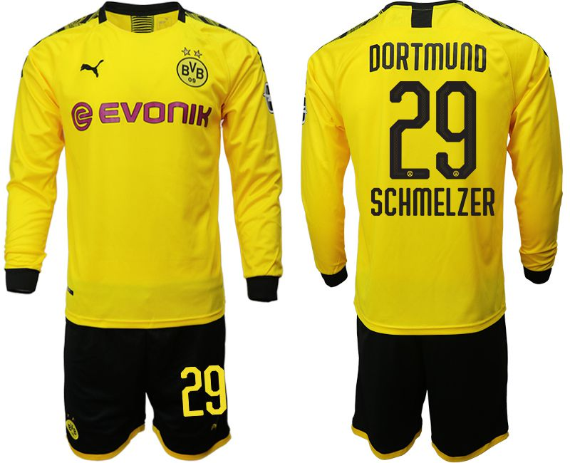 Men 2019-2020 club Borussia Dortmund home long sleeves 29 yellow Soccer Jerseys