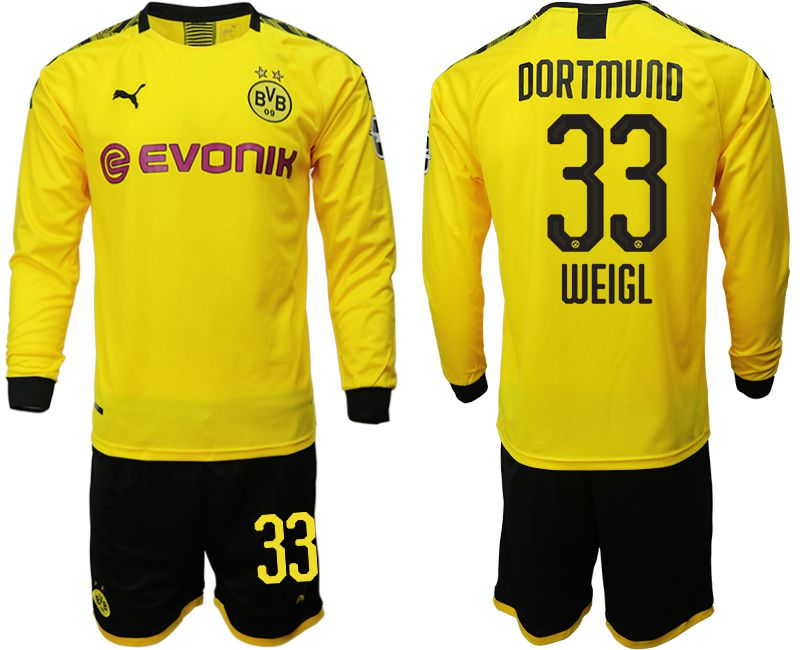 Men 2019-2020 club Borussia Dortmund home long sleeves 33 yellow Soccer Jerseys