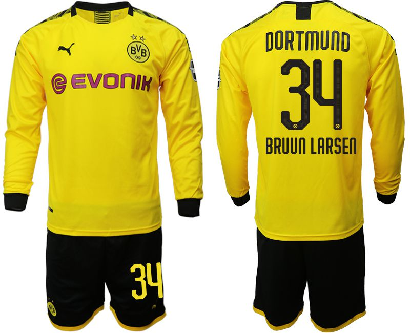 Men 2019-2020 club Borussia Dortmund home long sleeves 34 yellow Soccer Jerseys