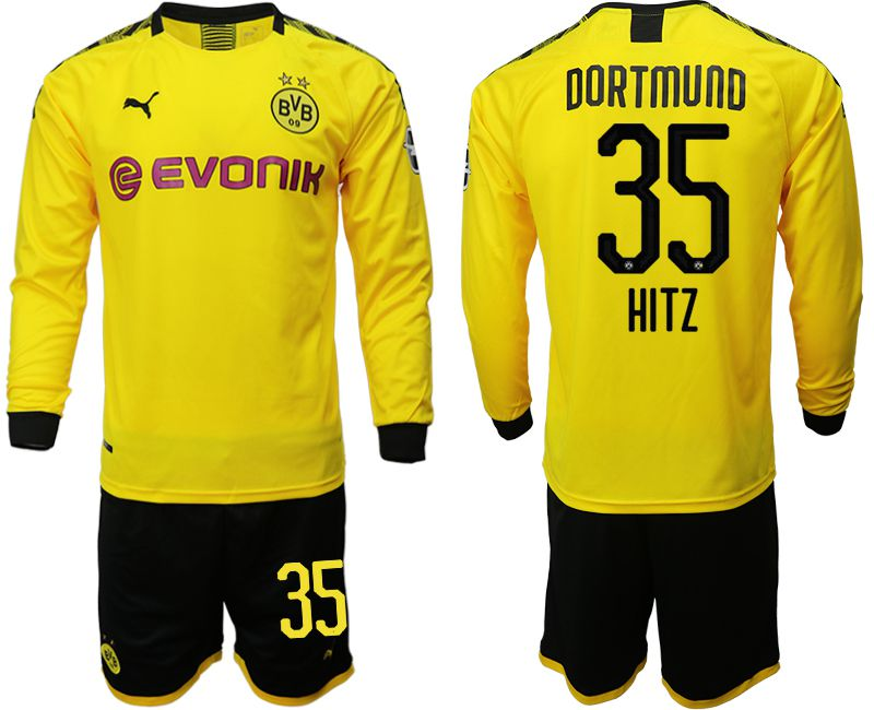 Men 2019-2020 club Borussia Dortmund home long sleeves 35 yellow Soccer Jerseys