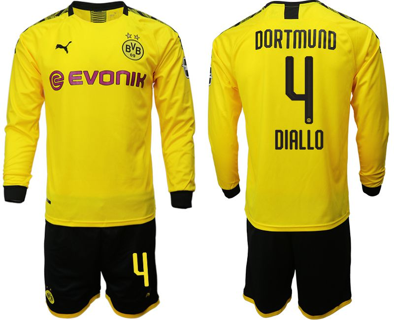 Men 2019-2020 club Borussia Dortmund home long sleeves 4 yellow Soccer Jerseys