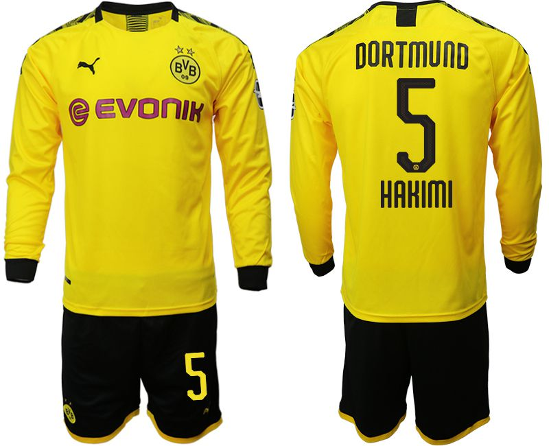 Men 2019-2020 club Borussia Dortmund home long sleeves 5 yellow Soccer Jerseys