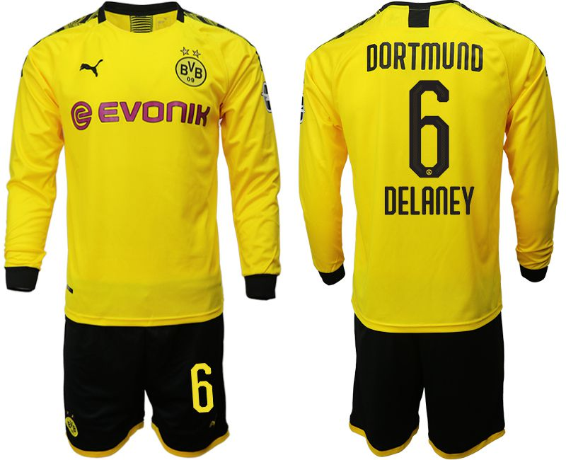 Men 2019-2020 club Borussia Dortmund home long sleeves 6 yellow Soccer Jerseys