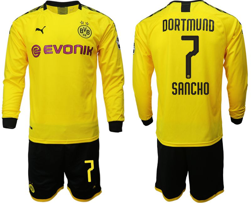 Men 2019-2020 club Borussia Dortmund home long sleeves 7 yellow Soccer Jerseys