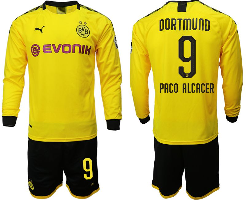 Men 2019-2020 club Borussia Dortmund home long sleeves 9 yellow Soccer Jerseys