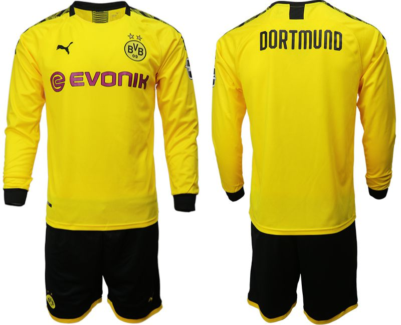 Men 2019-2020 club Borussia Dortmund home long sleeves yellow Soccer Jerseys