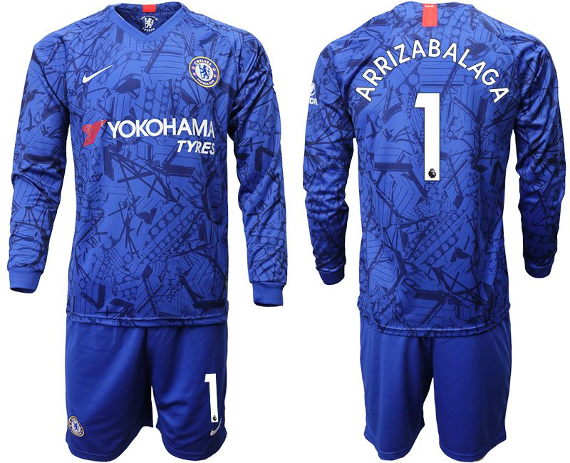 Men 2019-2020 club Chelsea ahome Long sleeve 1 blue Soccer Jerseys
