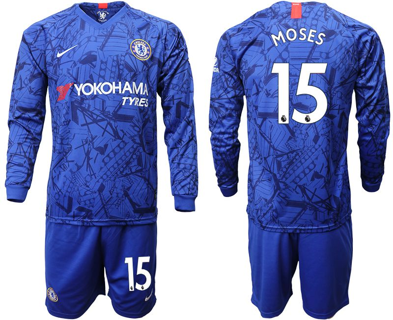 Men 2019-2020 club Chelsea ahome Long sleeve 15 blue Soccer Jerseys