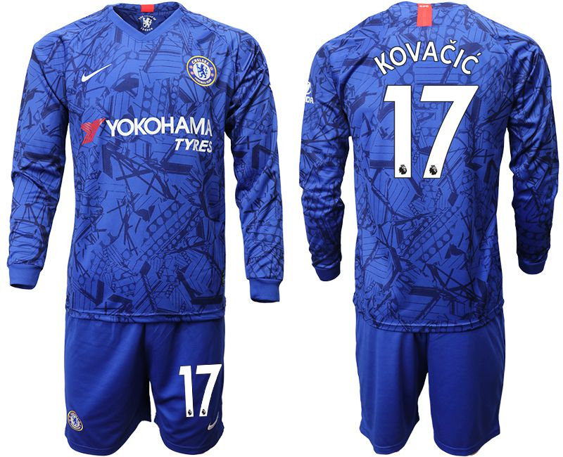 Men 2019-2020 club Chelsea ahome Long sleeve 17 blue Soccer Jerseys