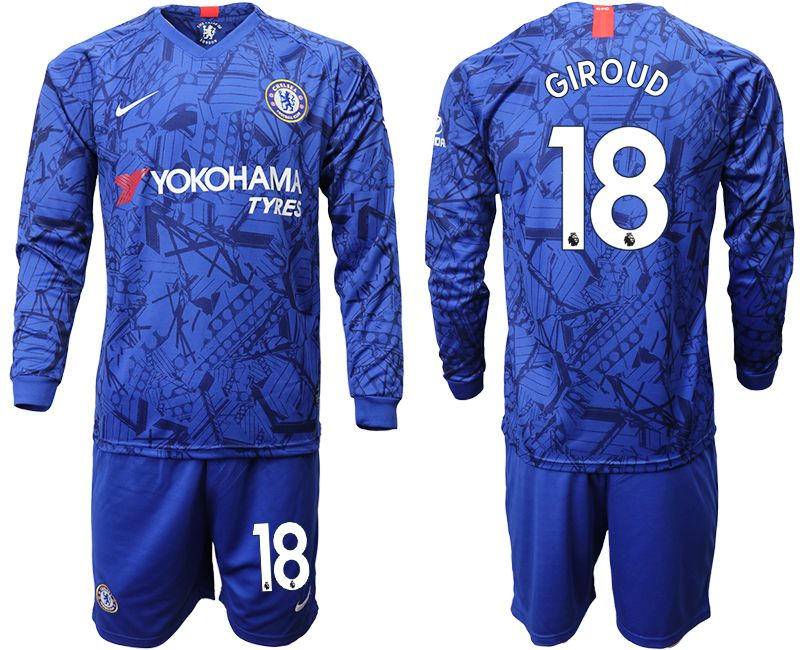 Men 2019-2020 club Chelsea ahome Long sleeve 18 blue Soccer Jerseys
