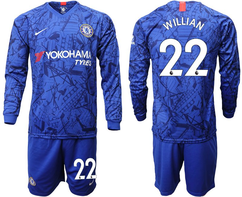 Men 2019-2020 club Chelsea ahome Long sleeve 22 blue Soccer Jerseys
