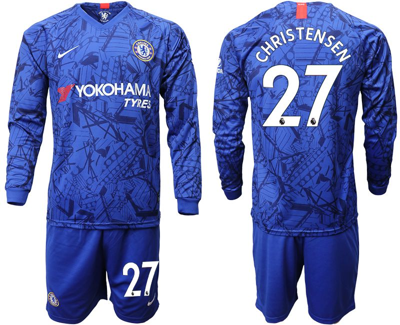 Men 2019-2020 club Chelsea ahome Long sleeve 27 blue Soccer Jerseys