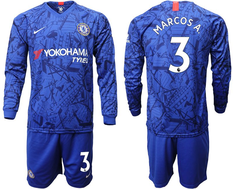 Men 2019-2020 club Chelsea ahome Long sleeve 3 blue Soccer Jerseys