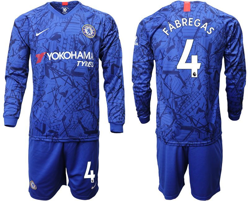 Men 2019-2020 club Chelsea ahome Long sleeve 4 blue Soccer Jerseys