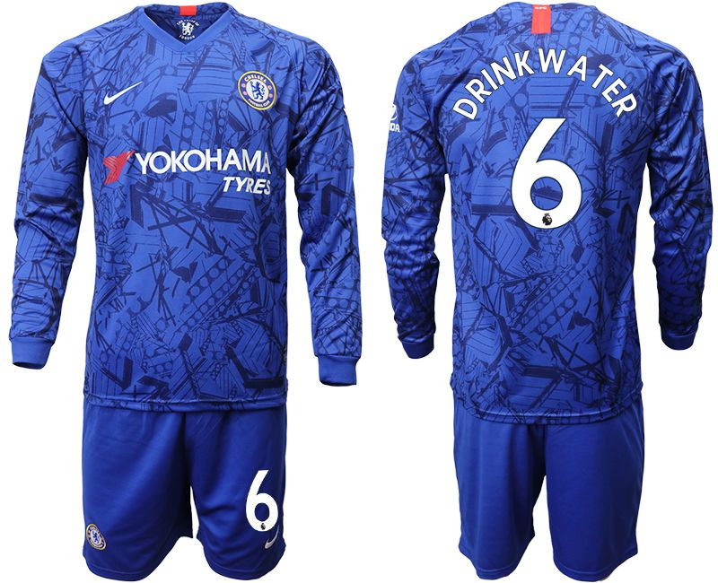 Men 2019-2020 club Chelsea ahome Long sleeve 6 blue Soccer Jerseys