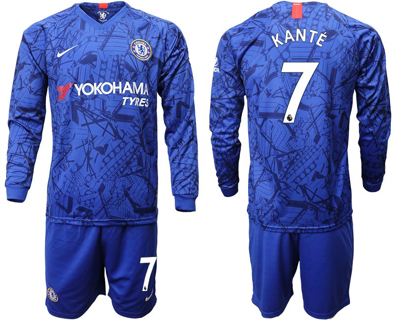 Men 2019-2020 club Chelsea ahome Long sleeve 7 blue Soccer Jerseys