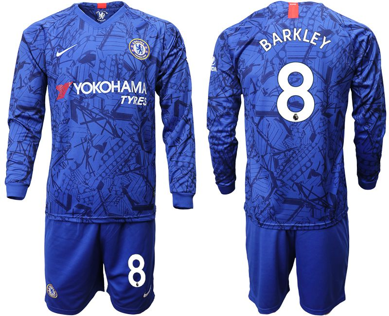 Men 2019-2020 club Chelsea ahome Long sleeve 8 blue Soccer Jerseys