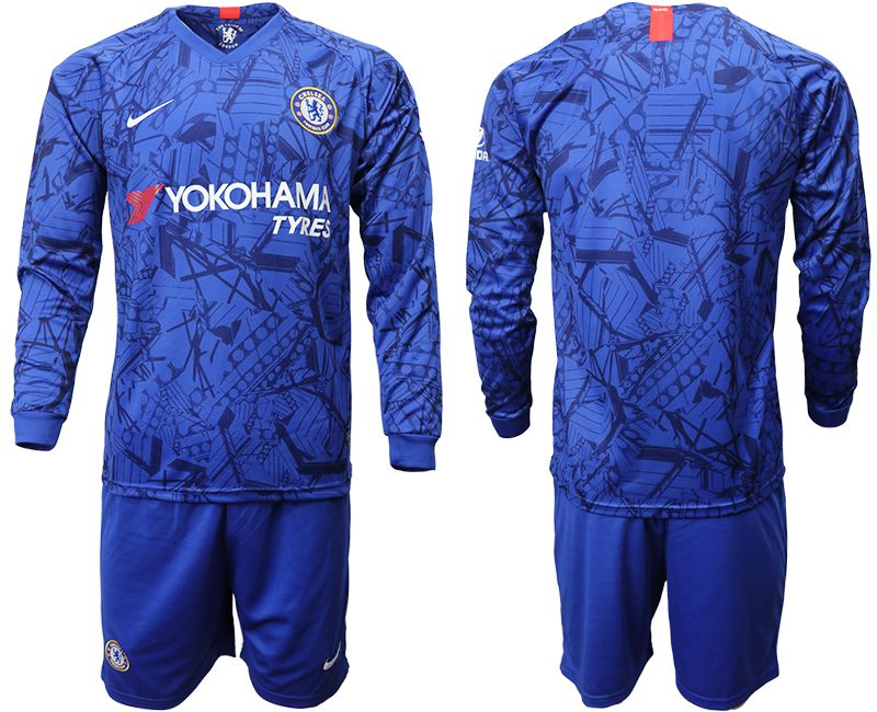 Men 2019-2020 club Chelsea ahome Long sleeve blue Soccer Jerseys