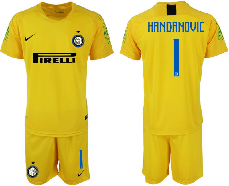 Men 2019-2020 club Inter Milan yellow goalkeeper 1 Soccer Jerseys