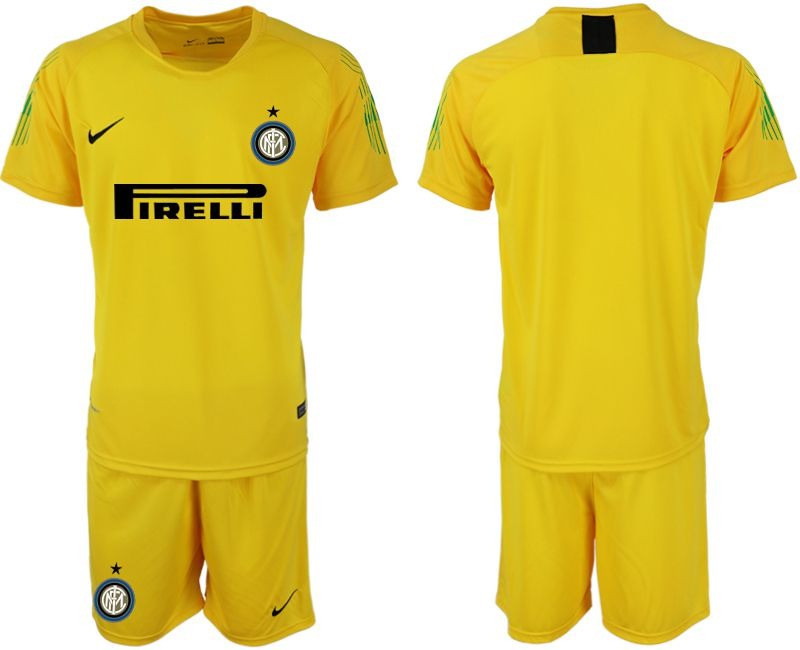 Men 2019-2020 club Inter Milan yellow goalkeeper Soccer Jerseys