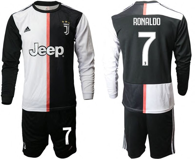Men 2019-2020 club Juventus home long sleeves 7 black Soccer Jerseys