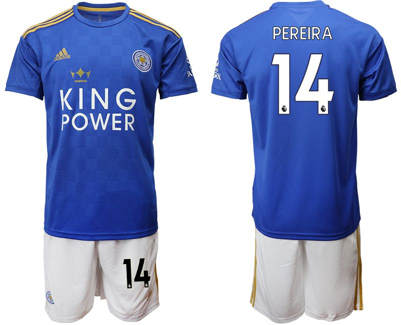 Men 2019-2020 club Leicester City home 14 blue Soccer Jerseys