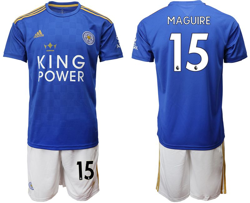Men 2019-2020 club Leicester City home 15 blue Soccer Jerseys