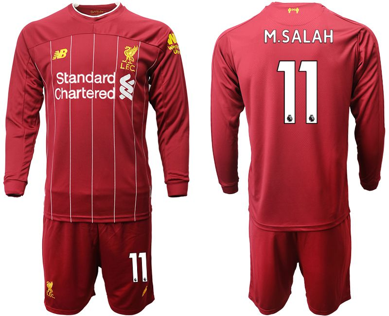 Men 2019-2020 club Liverpool home long sleeves 11 red Soccer Jerseys