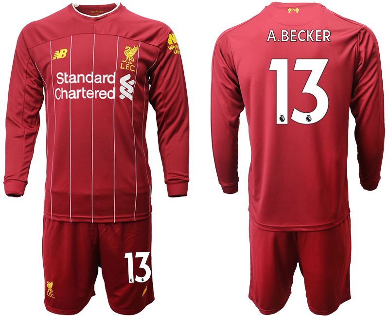 Men 2019-2020 club Liverpool home long sleeves 13 red Soccer Jerseys
