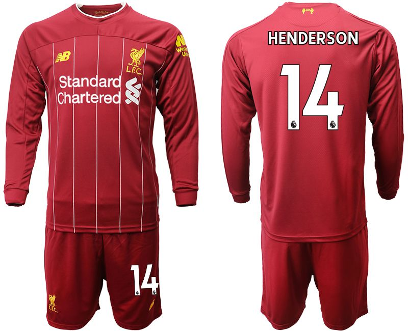 Men 2019-2020 club Liverpool home long sleeves 14 red Soccer Jerseys