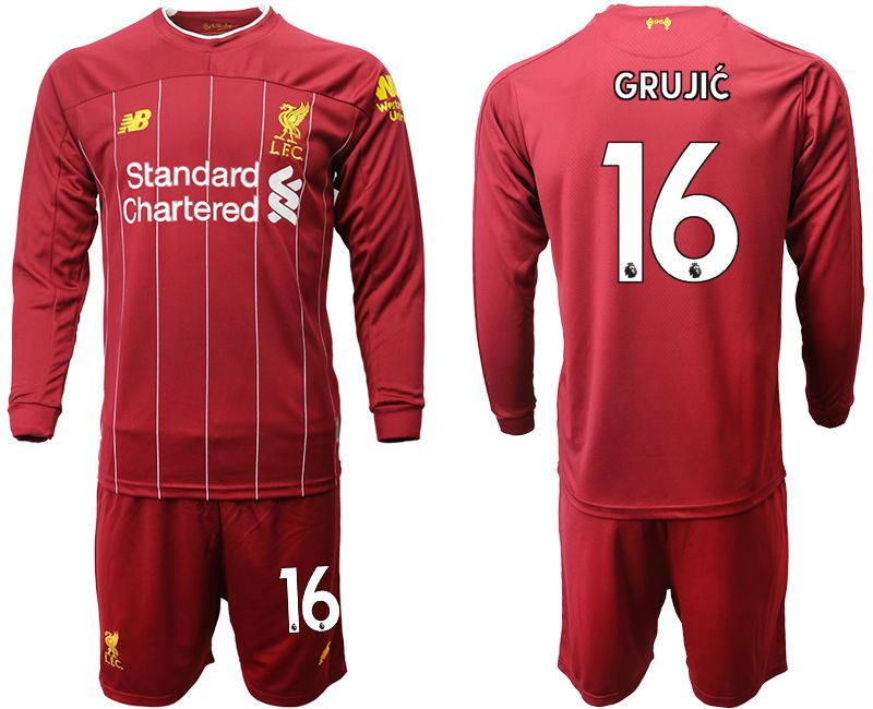 Men 2019-2020 club Liverpool home long sleeves 16 red Soccer Jerseys