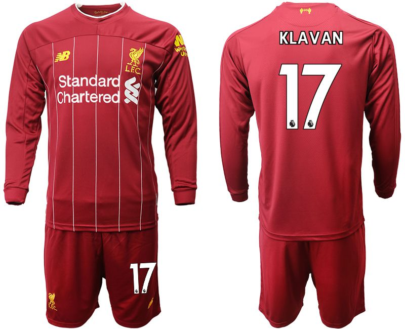 Men 2019-2020 club Liverpool home long sleeves 17 red Soccer Jerseys