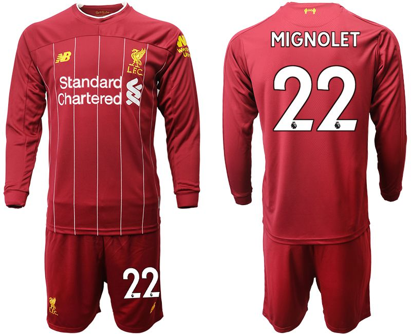 Men 2019-2020 club Liverpool home long sleeves 22 red Soccer Jerseys