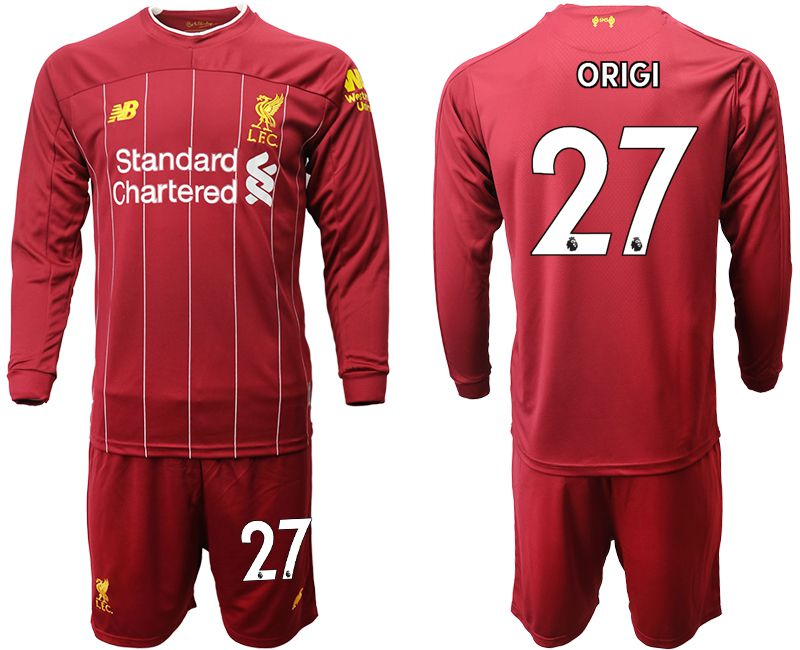Men 2019-2020 club Liverpool home long sleeves 27 red Soccer Jerseys