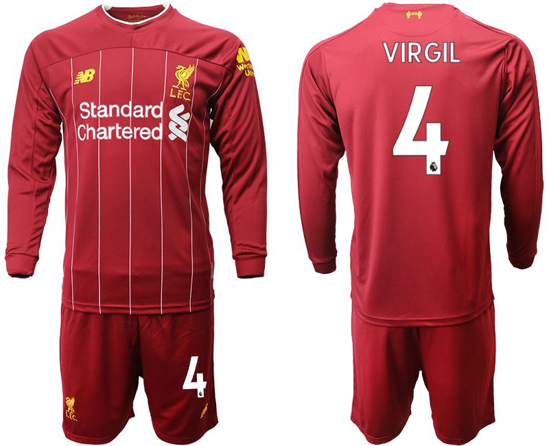 Men 2019-2020 club Liverpool home long sleeves 4 red Soccer Jerseys