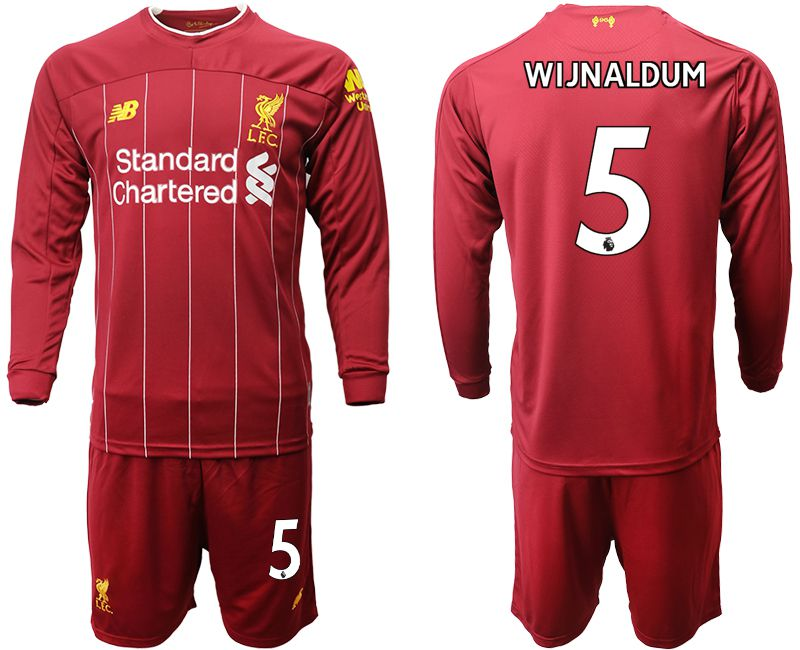 Men 2019-2020 club Liverpool home long sleeves 5 red Soccer Jerseys